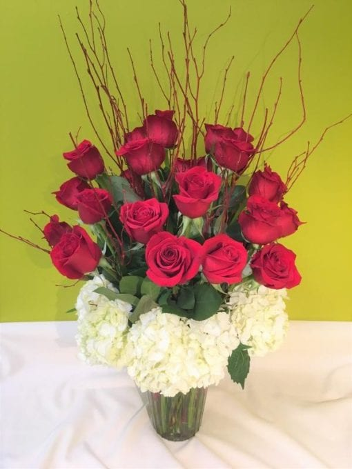 Red roses and hydrangea floral arrangement - Bergen County, NJ