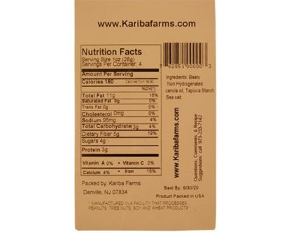 Dried Beet Chips Back Label
