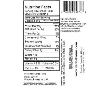 Nutcrusters Spicy Pecan Paleo Atkins Flax Seed Nutrition Information